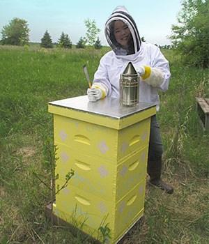 Sophia Nienaber, a 2015 Scholarship winner in beekeeping